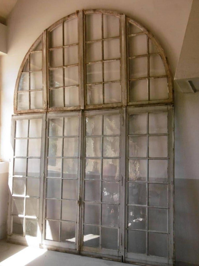 Late 19th Century Rare Set of 6  Burgundy Abbey Cloister Double Window Doors, France 19th Cent For Sale