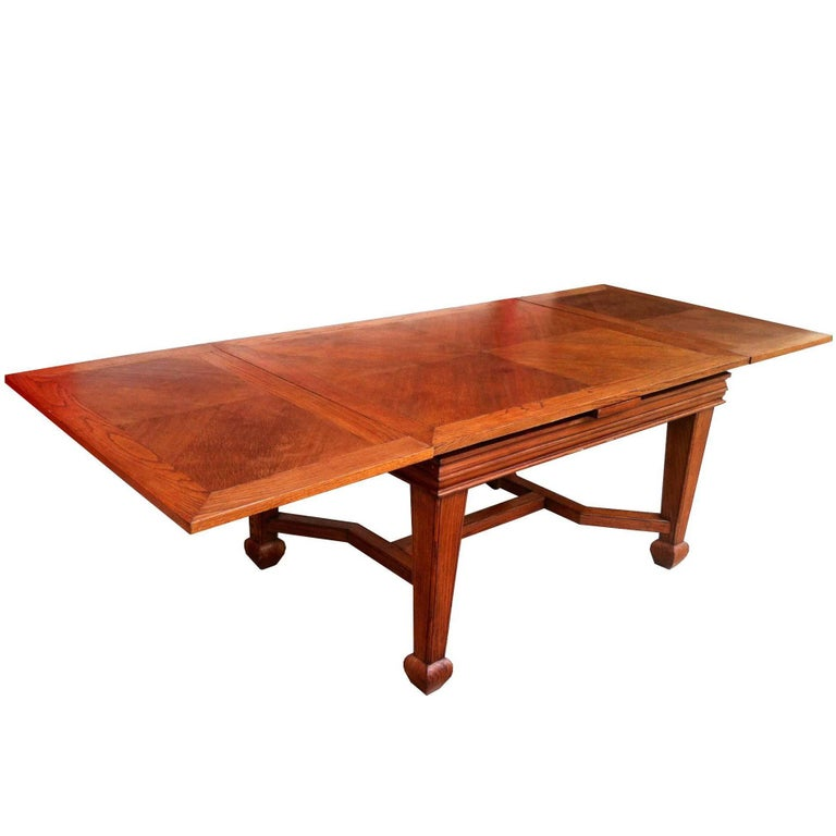 Beautiful Midcentury, French Oak Expendable Large Size Dining Meeting Table