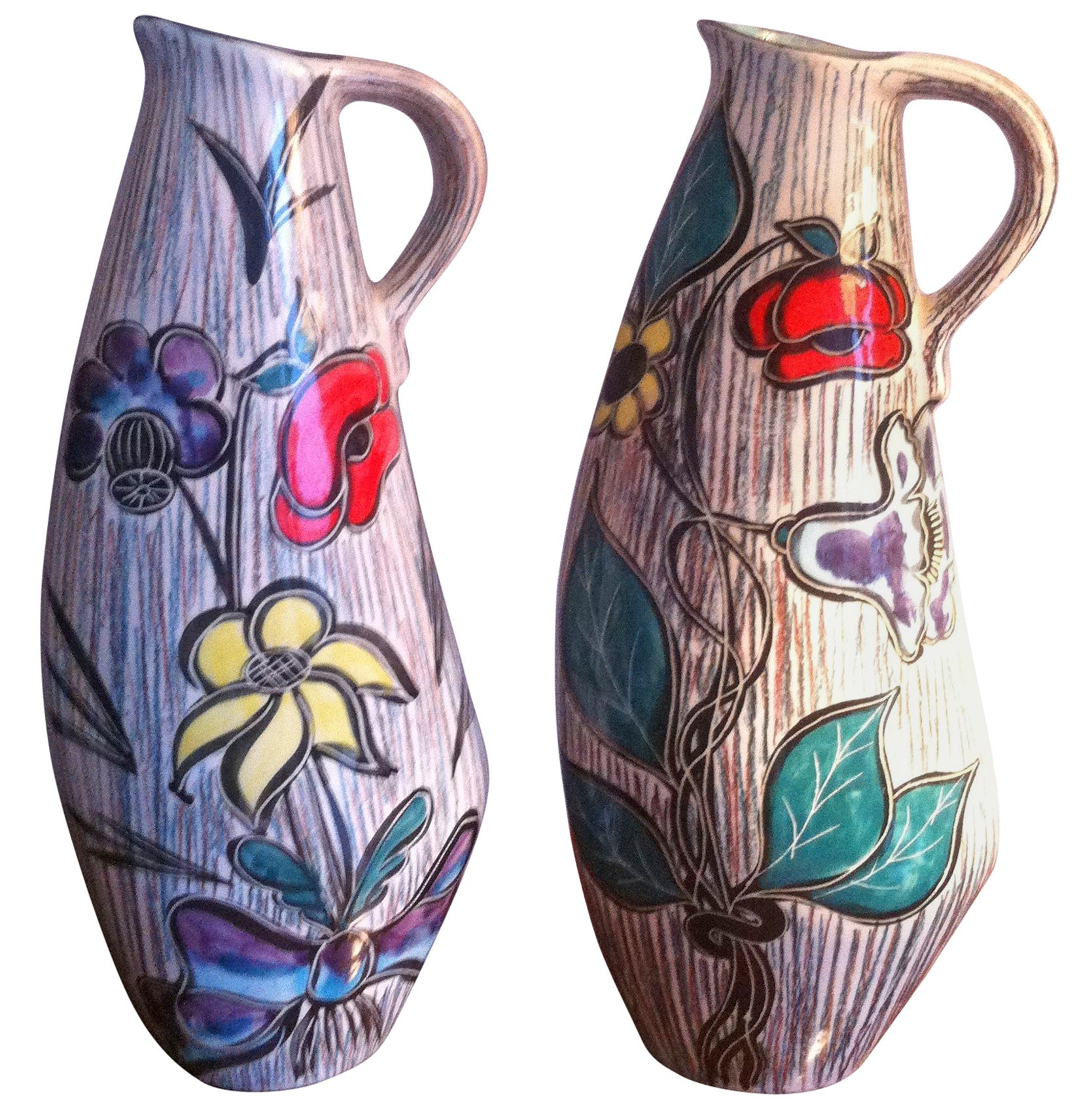Vallauris Pair of Ceramic French Pitchers Vase, France 1950