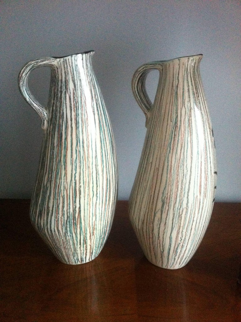 20th Century Vallauris Pair of Ceramic French Pitchers Vase, France 1950 For Sale