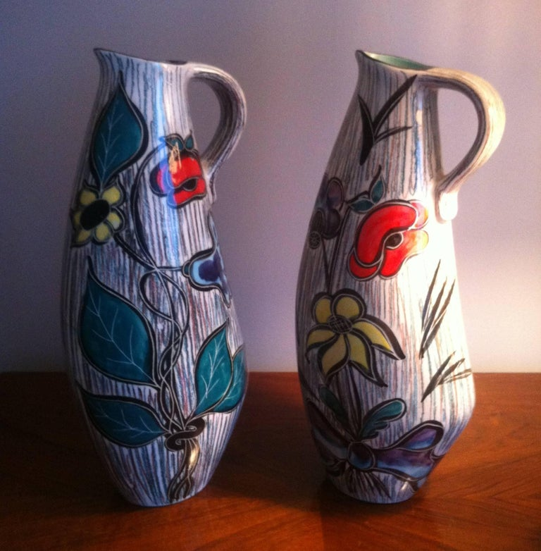 Vallauris Pair of Ceramic French Pitchers Vase, France 1950 For Sale 1