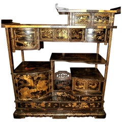 Unique 19th Century Japanese Gold and Lacquered Cabinet