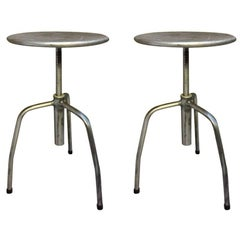 Original Vintage Industrial European Steel Stools