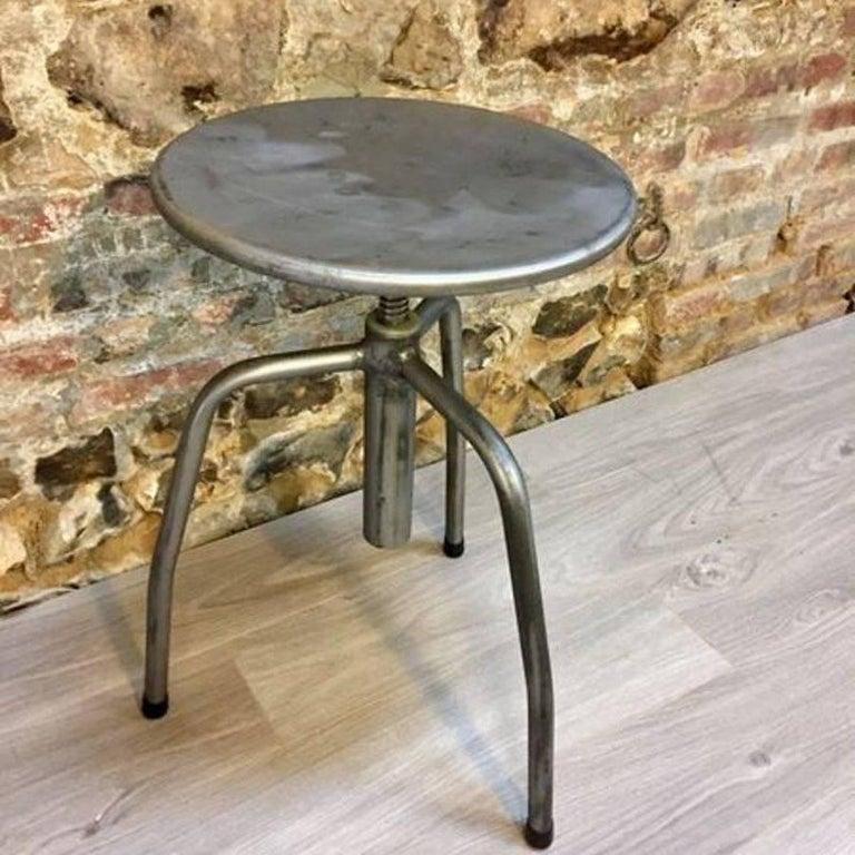 French Original Vintage Industrial European Steel Stools For Sale