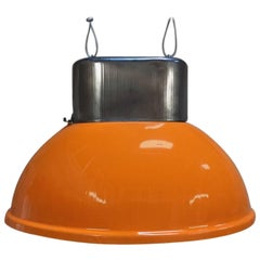 Industrial Vintage European Original Orange Steel Pendant Lamps