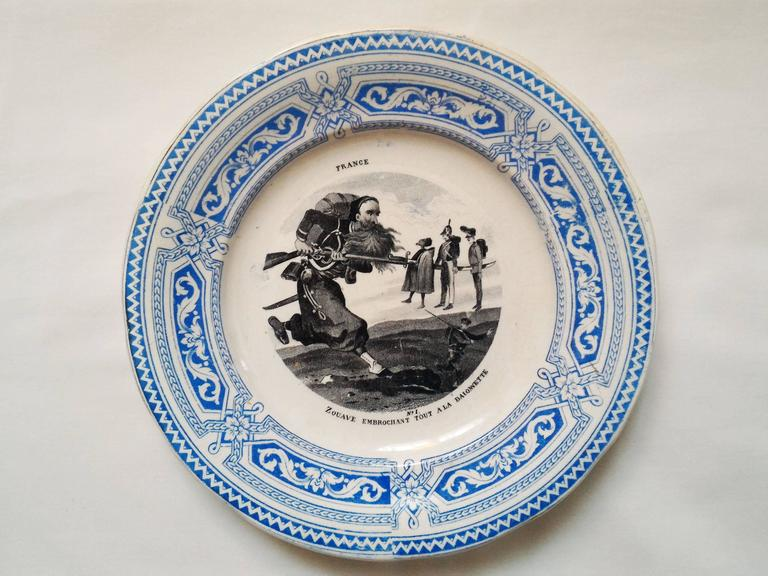 Amazing complete set of 12 talking plates showing each one a different and incredible situations in the French military life by the 19th century.
