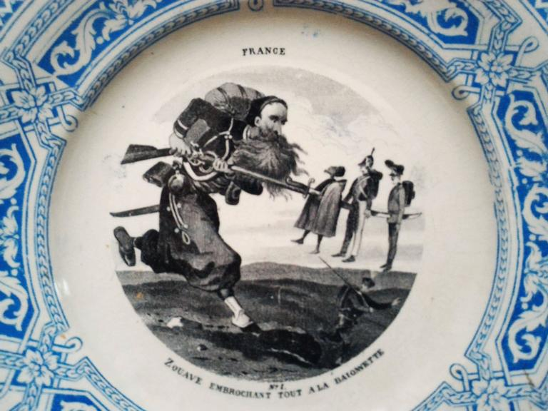 Napoleon III Set of 12 Talking Plates, French Military Signed by Creil Montereau 19th Century For Sale