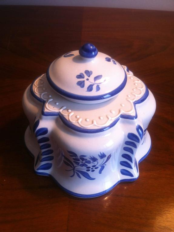 Inkwell and Candleholder in French Faience De Desvres, Hand-Painted 5