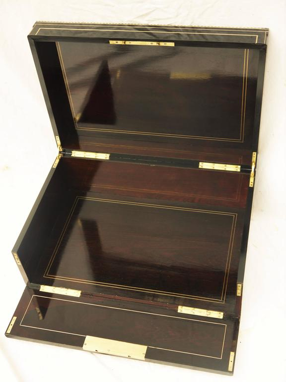 French Napoleon III Boulle Style Marquetry Box Brass, Copper, Mother-of-Pearl, France For Sale