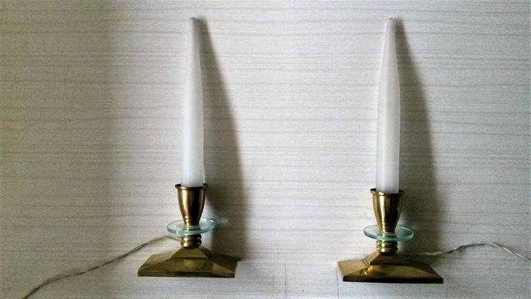 Perfect Very Refined Pair Of French Art Deco Gilt Bronze Table Lamps In A Elegant  Candlestick Style