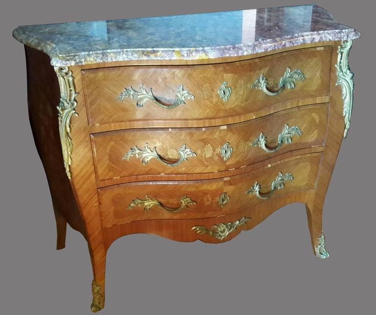 Louis xv french bedroom set commode and nightstand tables for sale at 1stdibs - Elegant types of nightstands ...