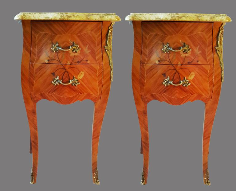 Louis XV French Bedroom Set, Commode and Nightstand Tables 6