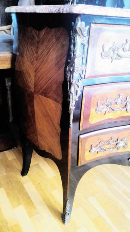 Louis XV Marquetry Commode and Pair of Bed Side Tables, French Bedroom Set 3