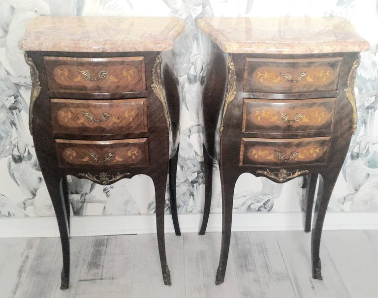 Louis XV Marquetry Commode and Pair of Bed Side Tables, French Bedroom Set 6