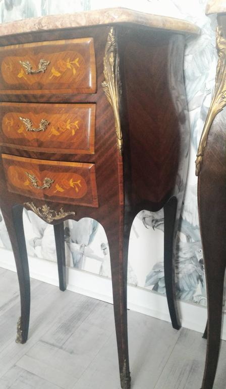 Louis XV Marquetry Commode and Pair of Bed Side Tables, French Bedroom Set 7
