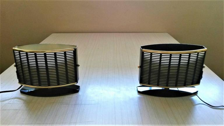 Lacquered Pair of French Mid-Century Modern Table Side Lamps, 1950s For Sale