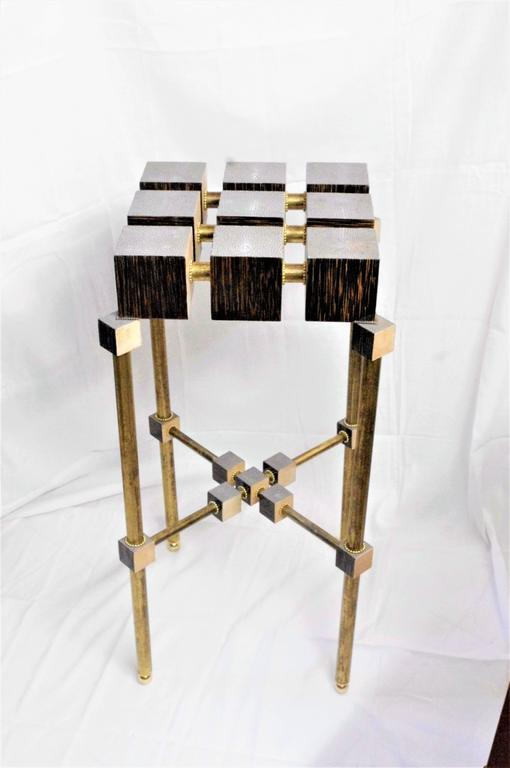 Pair of Luxury Handmade Galuchat High Side Tables For Sale 2