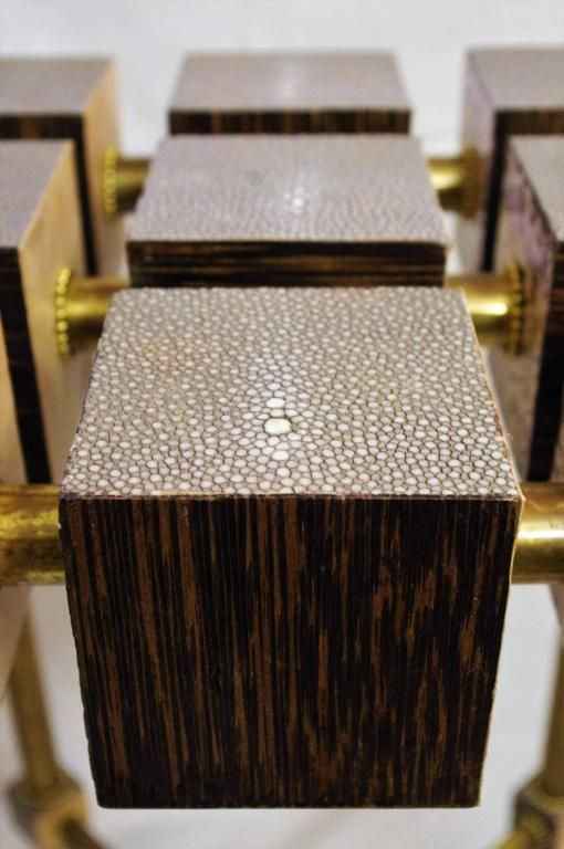 Brass Pair of Luxury Handmade Galuchat High Side Tables For Sale