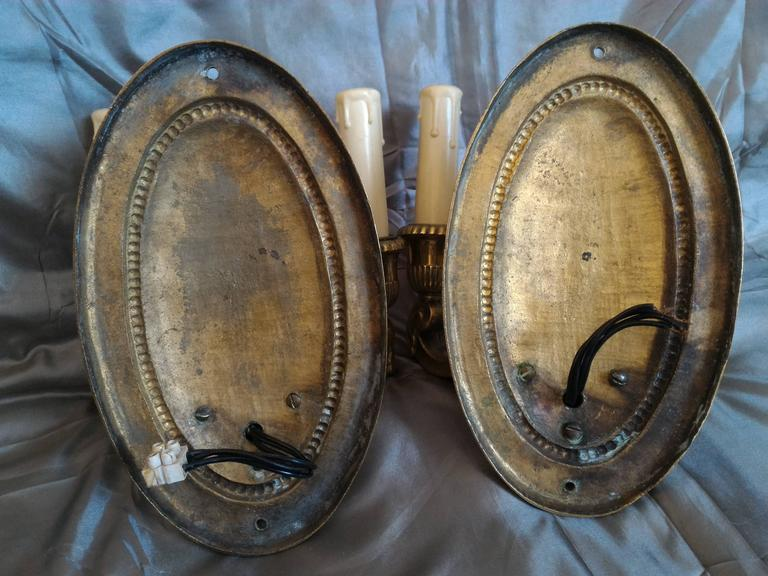Pair of Neoclassical Bronze Sconces, France  For Sale 2