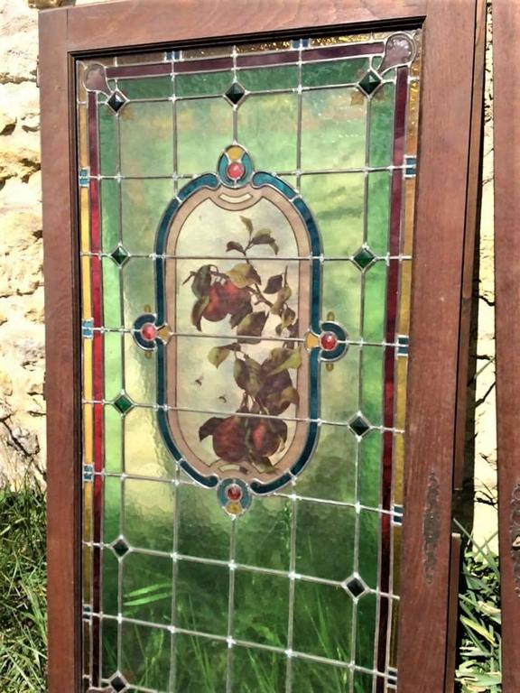 20th Century Pair of French Provincial Stained Glass Windows,  France 1910 For Sale