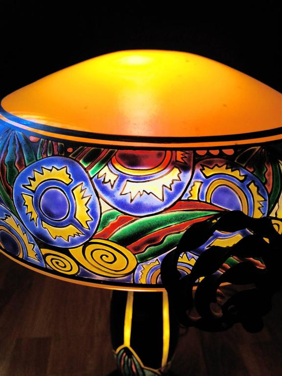 Fabulous French Art Nouveau Table Lamp Signed Delatte, Ecole de Nancy In Excellent Condition For Sale In Paris, FR