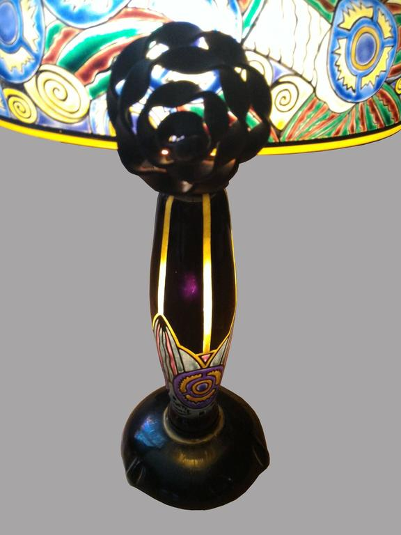 Fabulous French Art Nouveau Table Lamp Signed Delatte, Ecole de Nancy 5