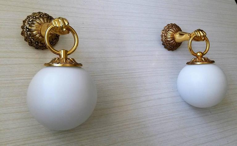 Mid-20th Century 2 Pairs of  Neoclassical French Gilt Bronze  Sconces For Sale