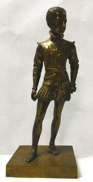 A charming 19th century, French bronze of Henry IV of France as a young man, elegantly dressed and holding his sword, signed Bosio. Fine quality after Baron Francois Joseph Bosio (1768-1845).   Henry IV of France, often known as the 'good King',