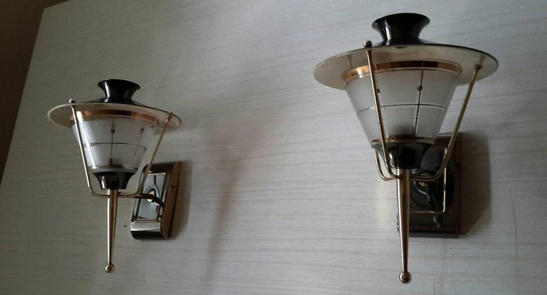 Brass Mid-Century Modern Sconces by Lunel, France 1950s In Excellent Condition For Sale In Paris, FR