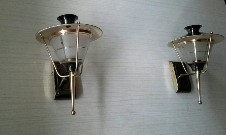 Mid-20th Century Brass Mid-Century Modern Sconces by Lunel, France 1950s For Sale