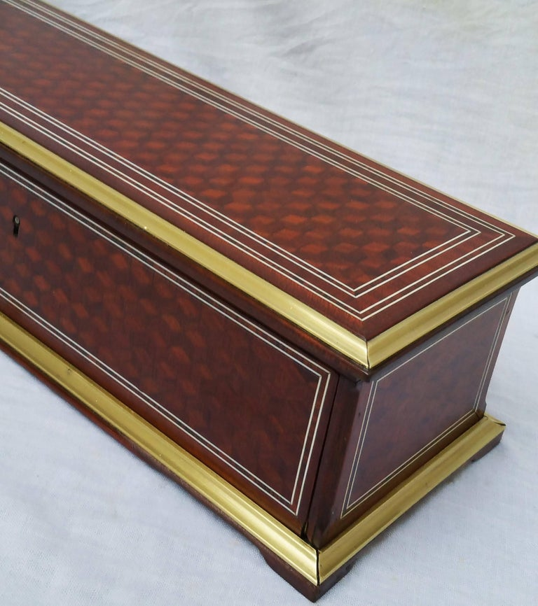 Big size elegant jewelry decorative box that used to be a gloves box. All sides are beautifully checkerboard style wood veneered decorated with palissander rosewood and mahogany, brass, bones and polished bronze and tortoise shell marquetry