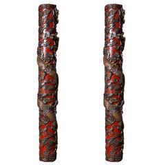 Pair of Shanghai Dragon Columns, 1910