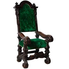 Italian Walnut Throne Or Armchair Or Chair, Circa 1700