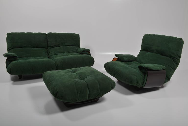 Green buckskin Marsala sofa by Ligne Roset, Michel Ducaroy, France, 1970s.