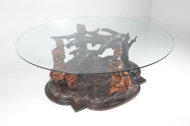 English Victorian Oak Dinning Table With Round Glass Top