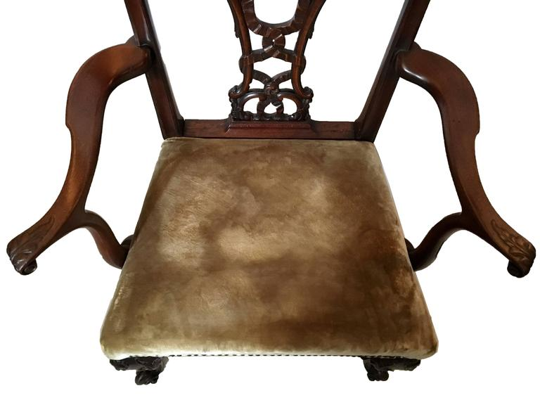 19th Century 'Riband Back' Chippendale Mahogany Armchair in Mohair Velvet 2