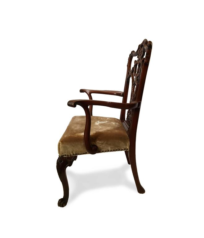 English 19th Century 'Riband Back' Chippendale Mahogany Armchair in Mohair Velvet