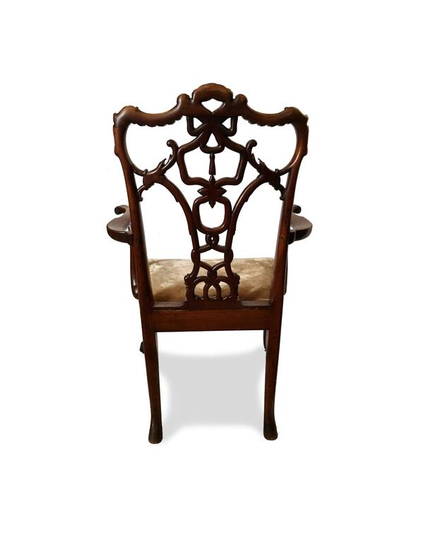 19th Century 'Riband Back' Chippendale Mahogany Armchair in Mohair Velvet In Good Condition In Brooklyn, NY