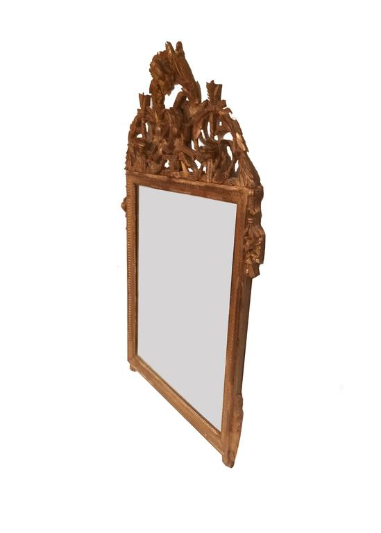 Late 18th century Louis XVI French gilt mirror with elaborate crown. The frame exhibits lambs tongue and beading detail while the surmount contains laurel wreaths, lyres, garlands and swags. A fine classical mirror with 19th century patinated glass.
