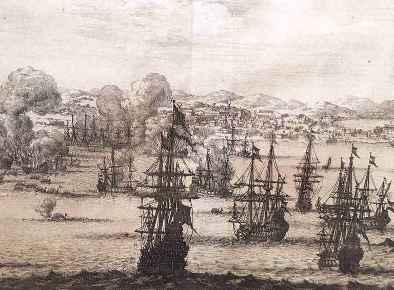 Part of the masterwork of Dutch theologian, explorer, and missionary Arnoldus Mantanus De Nieuwe en Onbekende Weereld from 1671, this theatrical scene of the Port of Lima displays a bustling Harbour full of masted ships. One of the richest cities of