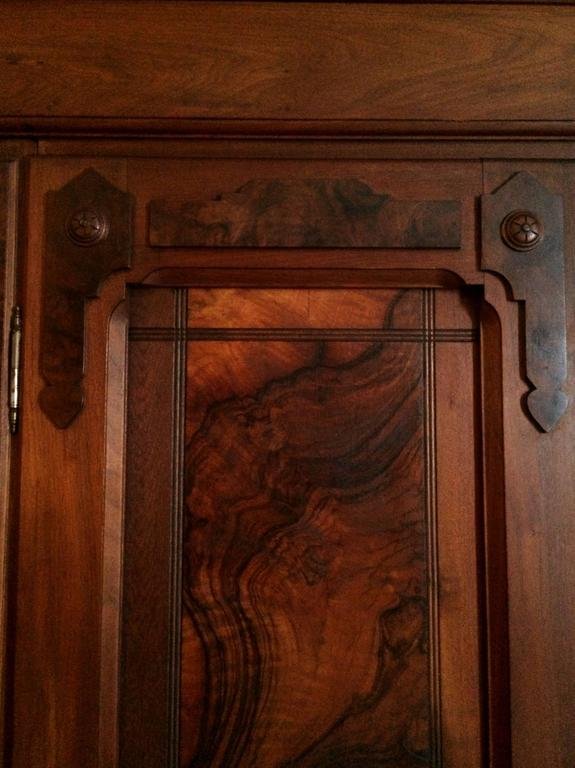 restored kitchen cabinets 19th century eastlake burl walnut armoire at 1stdibs 25533