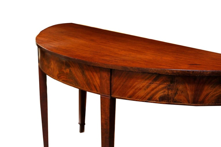 Pair of late 18th Century Hepplewhite Mahogany Demilune Tables For Sale 1