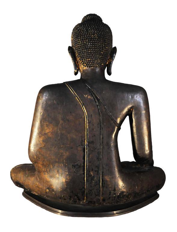Other 17th Century Bronze Vajrasana Buddha Maravijaya in BhumisparshaMudra, Thailand For Sale