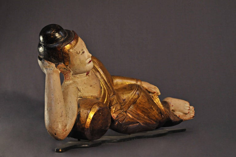 Other Late 18th Century, Lacquered Alabaster Mahaparinirvana Buddha, Art of Burma For Sale