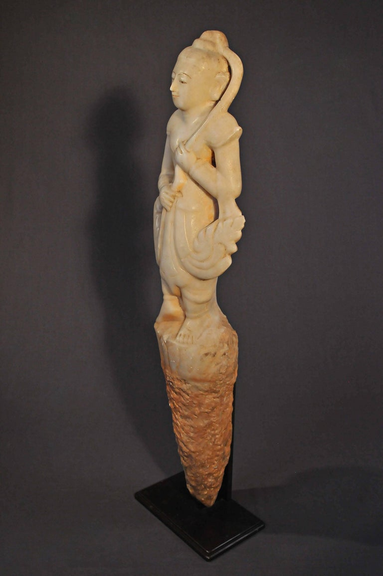 Burmese Late 14th Century, Marble statue of Prah Mae Torani, Pagan period, Art of Burma For Sale