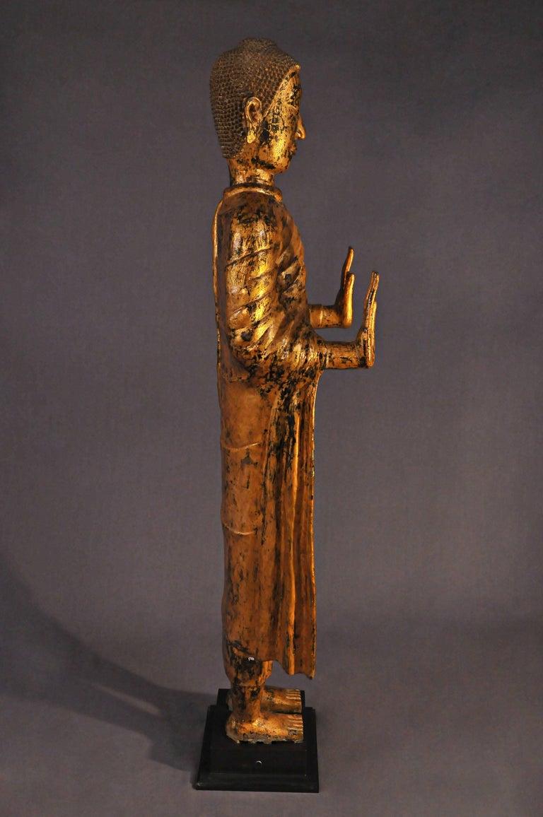Late 17th Century, Gilded Bronze Buddhain Abhaya Mudra, Art of Thailand For Sale 1