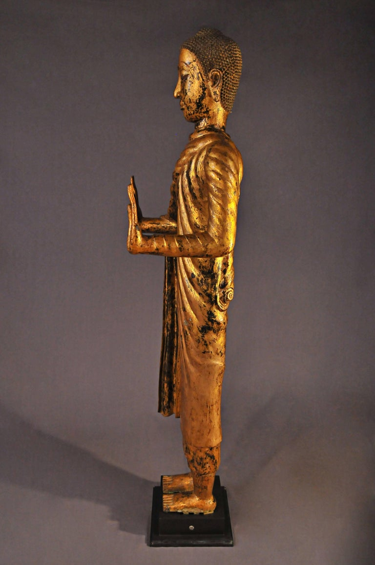 Gilt Late 17th Century, Gilded Bronze Buddhain Abhaya Mudra, Art of Thailand For Sale