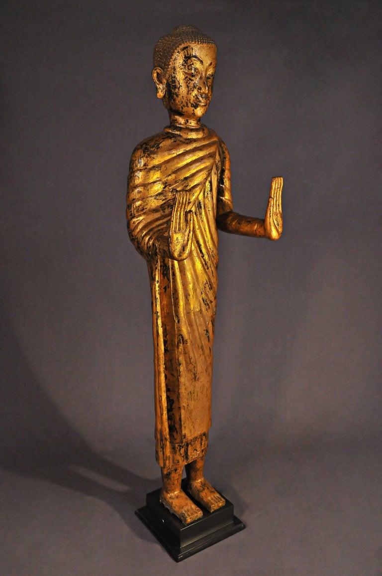 Late 17th Century, Gilded Bronze Buddhain Abhaya Mudra, Art of Thailand For Sale 2