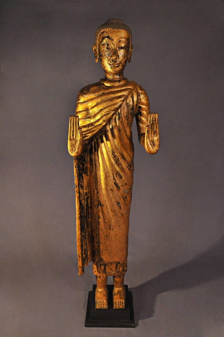 This gilded bronze statue is exceptional both in size and presence.  The master is here represented standing in the gesture of 'Abhaya-Mudra', 'Absence of fear', both hands raised, palms open.  He is dressed in Uttarasanga, a large draped piece,