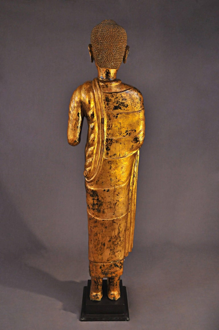 Late 17th Century, Gilded Bronze Buddhain Abhaya Mudra, Art of Thailand In Good Condition For Sale In Hong-Kong, HK